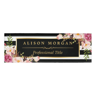Vintage Floral Wrapping Gold Black White Stripes Name Tag