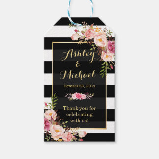 Vintage Floral Wrapping Stripes Wedding Thank You