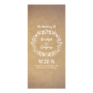 Vintage Floral Wreath Elegant Wedding Programs Rack Cards