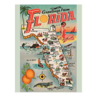 Vintage Florida Map Post Card