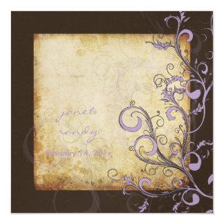 Vintage flourish swirls/chocolate/lilac/lavender 13 cm x 13 cm square invitation card