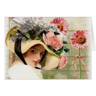 Vintage Flower Lady. Card