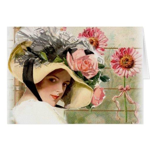 Vintage Flower Lady. Cards