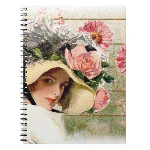 Vintage Flower Lady. Notebooks