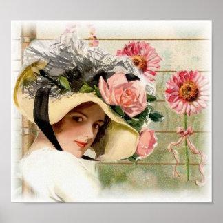 Vintage Flower Lady. Posters