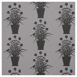 Vintage Flowering Plant Silhouette Custom Color Fabric