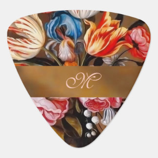 Vintage Flowers in a Vase | Monogrammed Pick Plectrum
