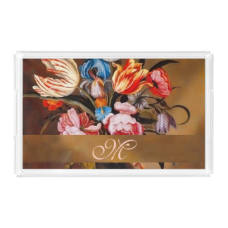 Vintage Flowers in a Vase with Monogram Acrylic Tray