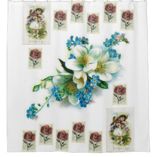 vintage flowers lady protrait showercurtain white shower curtain