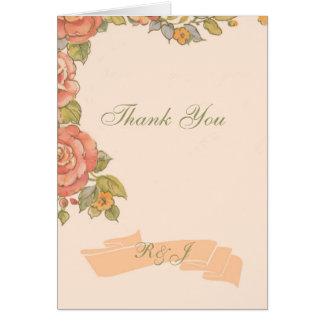 vintage flowers spring wedding thank you card