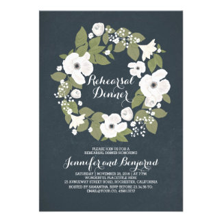 vintage flowers wreath fabulous rehearsal dinner 13 cm x 18 cm invitation card