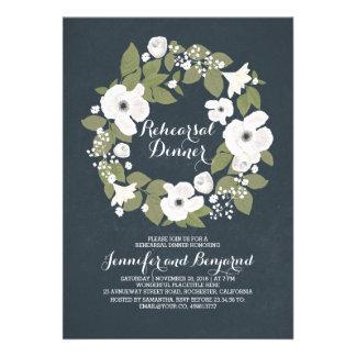 vintage flowers wreath fabulous rehearsal dinner 13 cm x 18 cm invitation card