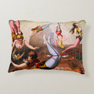 Vintage Flying Trapeze Circus Performers Pillow