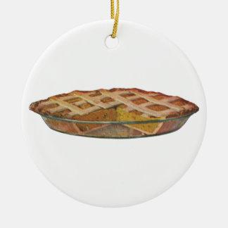 Vintage Foods, Dessert, Thanksgiving Pumpkin Pie Round Ceramic Decoration