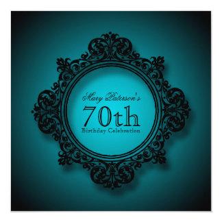 Vintage Frame in Blue - 70th Birthday Celebration 13 Cm X 13 Cm Square Invitation Card