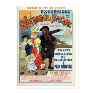 Vintage France Normandy Jersey UK travel ad Postcard