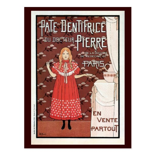 Vintage French Belle epoque toothpaste ad Post Cards