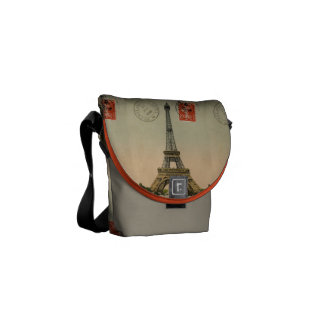 Vintage French Chic Eiffel Tower Paris Postcard Courier Bags