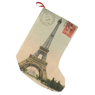 Vintage French Chic Paris Eiffel Tower Small Christmas Stocking
