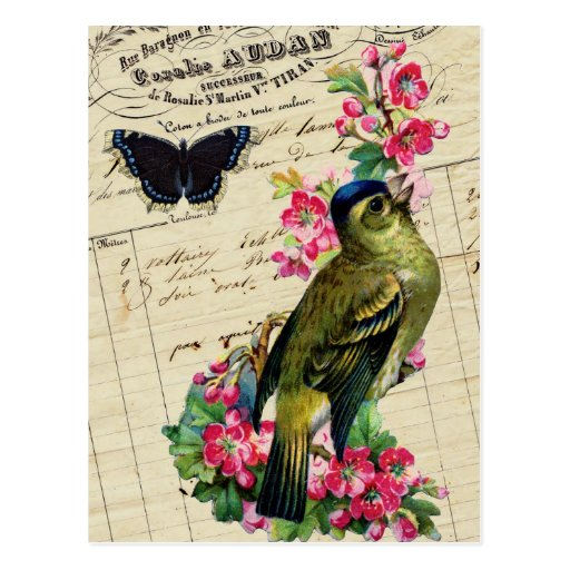 Vintage French Chic Spring Bird Collage Postcards