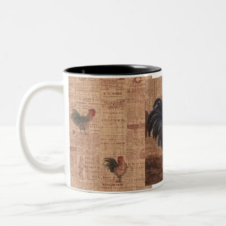 Vintage French Country Roosters Coffee Cup Mug