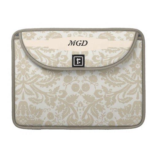 Vintage french floral art nouveau pattern monogram sleeves for MacBooks