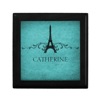 Vintage French Flourish Gift Box, Teal Gift Box