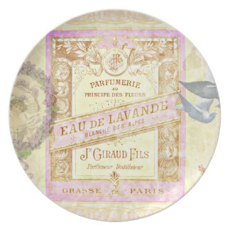 Vintage French Lavender Perfume Collage Party Plate
