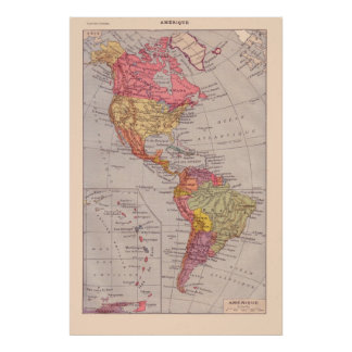 Vintage French map, 1920, The Americas Posters