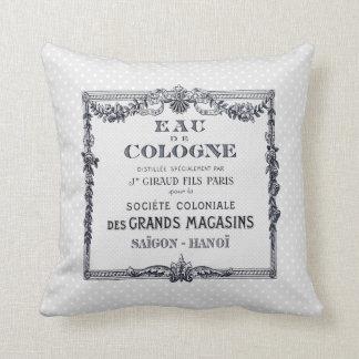 Vintage French Perfume Label Throw Pillow