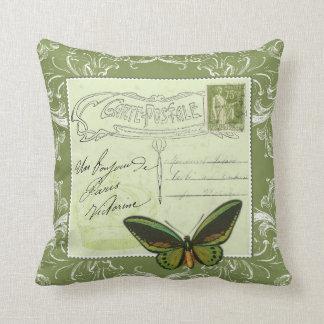 Vintage French postcard collage - stamp butterfly Cushion