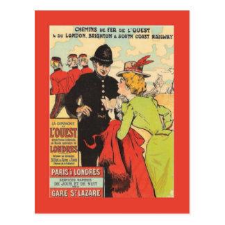Vintage French railway poster, Paris to London Postcard
