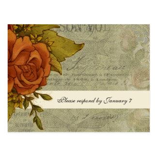 Vintage French Rose RSVP Postcard