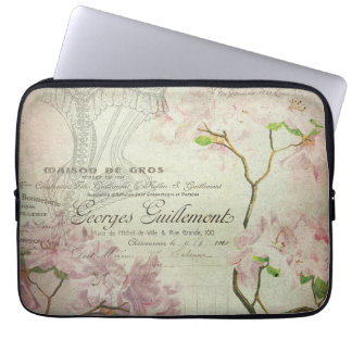 Vintage French Script Shabby Flowers Chic Corset Laptop Sleeve