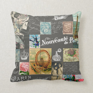 Vintage French stamps collage with postcards Cushion