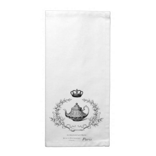 Vintage French teapot fabric napkin