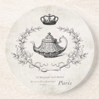 Vintage French teapot stone coaster