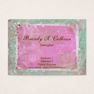 Vintage French Toile & Script Greenish Blue & Pink Business Card