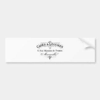 vintage french typography cafes et legumes bumper sticker