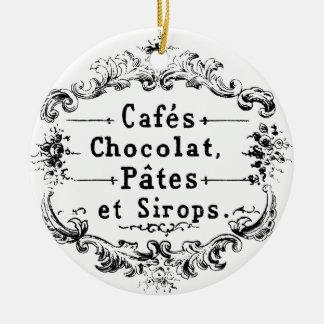 Vintage french  typography chocolate design round ceramic decoration