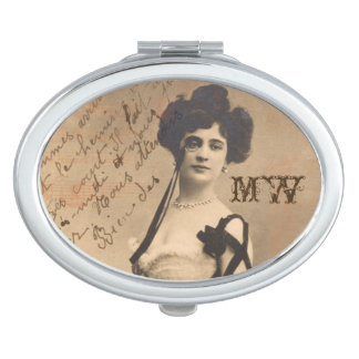 Vintage French Woman with Monocle Compact Mirror For Makeup