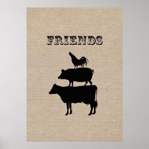 Vintage friends cute funny retro farm animal print