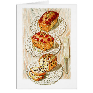 Vintage fruit cake illustration card