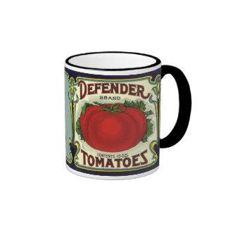 Vintage Fruit Crate Label Art, Defender Tomatoes Coffee Mugs