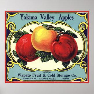Vintage Fruit Crate Label Art Yakima Valley Apples Poster