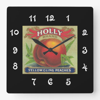 Vintage Fruit Crate Label  Holly - wall clock