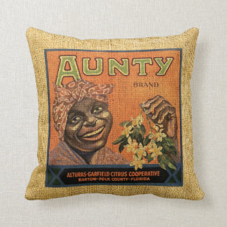 Vintage Fruit Label Aunty and Smokey Jim's Cushion