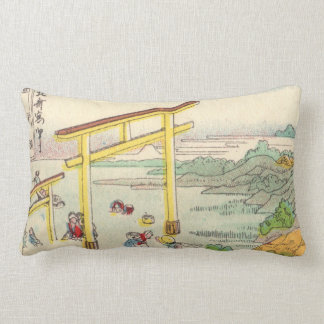 Vintage Fujiyama and Torii gate drawing Lumbar Pillow