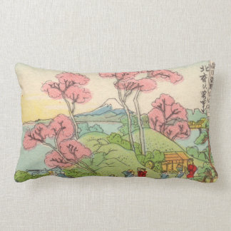 Vintage Fujiyama drawing Lumbar Cushion
