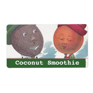 Vintage Fun Anthropomorphic Coconut Smoothie Label